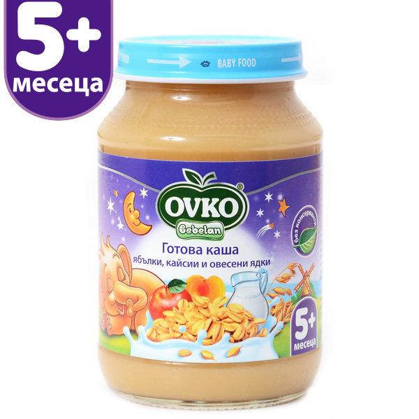 OVKO Бебешка млечна каша/ябълки, кайсии и овесени ядки/от 5-ия месец 190 гр.
